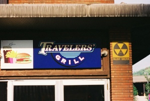 Fallout shelter sign on a hamburger joint