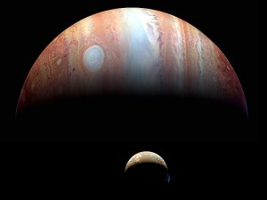Jupiter and one of its moons. (New Horizons/NASA)