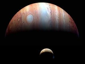 Jupiter and one of its moons. (New Horizons/NASA)