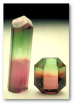 Bicolored elbaite crystal and a 34.6-carat gem from Brazil.  Smithsonian via American Museum of Natural History