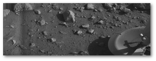 First clear image from Mars - Viking 1, July 20, 1976.