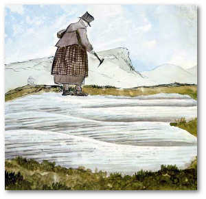 Mary Anning at work, painted by Henry de la Beche.  Source