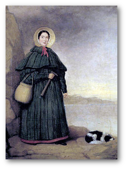 Mary Anning - note the rock hammer.  (Wikipedia)