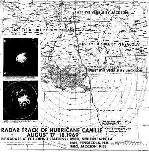 Radar images and local map of Camille's eye as it made landfall and tracked inland.  (NOAA)