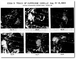 Satellite images of Camille at various stages of its life.  (NOAA)