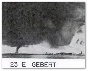 One of the Fargo tornadoes as it neared Hector International Airport.  The photograph has been labeled by Fujita.  Wikipedia