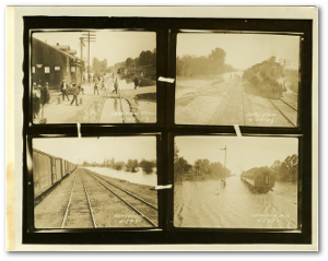Montage of four photographs showing flooding in Lakeview, MS, and Nonconnah, TN, on April 24, 1927.  Mississippi Department of Archives and History
