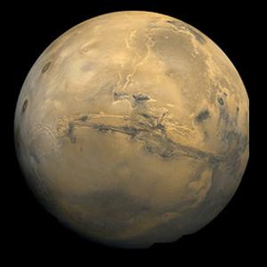 Mars, showing the Valles Marineris.  (NASA)