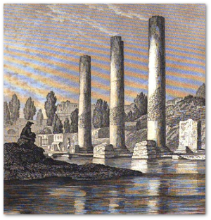 """The frontispiece to """"Principals"""" showed Roman columns at Pozzuoli that demonstrated evidence of land rising above and falling below sea level."""