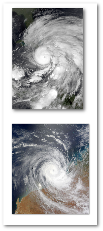 Top:  Category 3 Hurricane Sandy threatens Florida in 2012. Bottom:  Category 4 Billy off Australia's northwest coast in 2008.