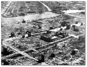 A residential section of Tokyo after Operation Meetinghouse on March 10, 1945.  (Wikipedia)