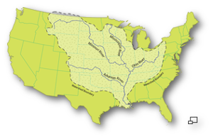 The Ohio, Missouri and Arkansas rivers are the Mississippi's major tributaries.  Source.