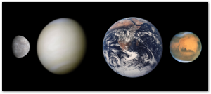 Size comparison the rocky inner planets (true-color images).  The gas giants would make these all look like marbles, and Pluto's getting no respect these days.  Image source