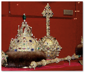The Crown of Monomakh and golden scepter and orb today.  Source