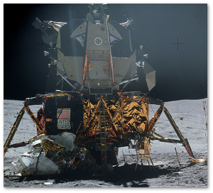 Not pictured:  Moon bling.  This Apollo 16 landing module wore gold for all the right reasons.  Source