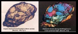 A Popigai diamond showing strong birefringence.  Source