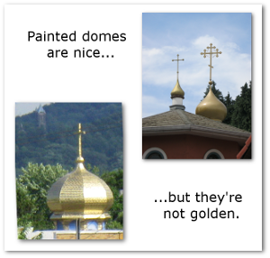 Saints Peter and Paul Ukrainian Orthodox Church, Cohoes, New York (left), and St. John the Wonderworker Serbian Orthodox Church, Eugene, Oregon (right).