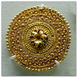 Etruscan filigreed ear stud, 5th century BC.  Image source