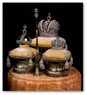 Faberge jeweled miniatures of the Great Crown, Lesser Crown, Orb and Scepter and now on display at the Hermitage.  Source