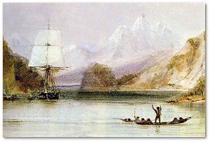 Watercolor of the Beagle by her draughtsman, Conrad Martens.  Source