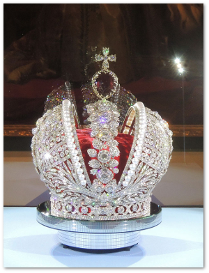 This is a replica.  For some reason, its keepers in the Kremlin don't allow 4,936 real diamonds to be publicly displayed.  Source