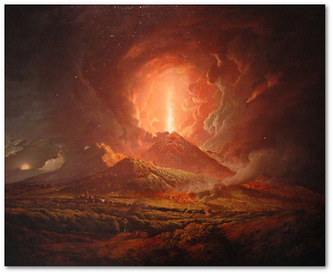 In the mid-1770s, an artist captured this view of Vesuvius erupting.  Source