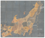Map of Kyushu, showing tsunami sites in January 1700.  Source #1 below