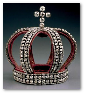 The bride wore this Nuptial Crown behind the Nuptial Tiara.  Image source