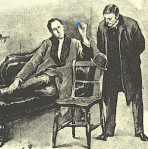 "Reproduction of Sidney Padget's illustration for ""The Adventure of the Blue Carbuncle"" in the Strand Magazine, touched up in blue."