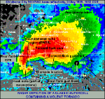 Hook echo on the Bridge Creek-Moore F5 tornado radar image.  Source