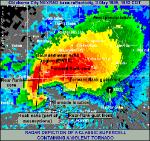 Hook echo on the Bridge Creek-Moore F5 tornado radar image.  Source