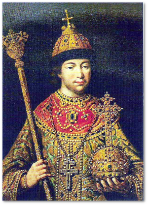 Tsar Michael I wearing the Imperial regalia in 1613.  Source