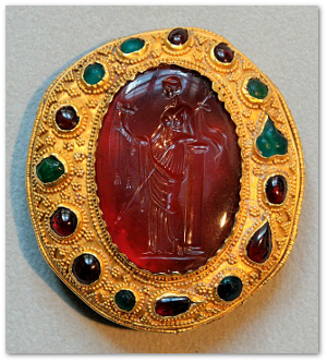 If our hero's habergeon were studded with golden citrine, then yes, carnelian would be terrific!  Source