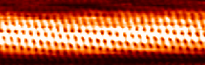 Scanning tunneling microscopic image of a carbon nanotube.  Source