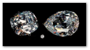 The First Star (right) and Second Star (left) are shown here with a 1-carat diamond for comparison.  Source