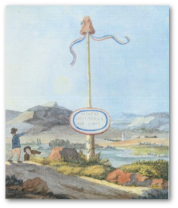 This liberty pole symbolized revolutionary France in the Republic of Mainz, which Georg Forster helped found.  The watercolor is by Goethe.  Source
