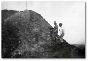 Perret on the left returned and was photographed at Kilauea in 1914  Source