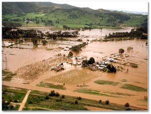 Flooding of the Ovens River, Victoria, Australia, in 1993.  Source