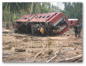 At least 1,700 people died with tsunami waves hit a crowded Sri Lankan train in 2004.  Source