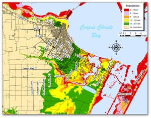 "Potential storm surge map for the Corpus Christi Bay area in Texas.  Read the legend  - green does not mean ""safe.""  Source"