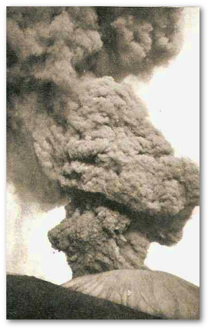 Perret took this photograph of the 1906 eruption just before the ash column collapsed.  Source