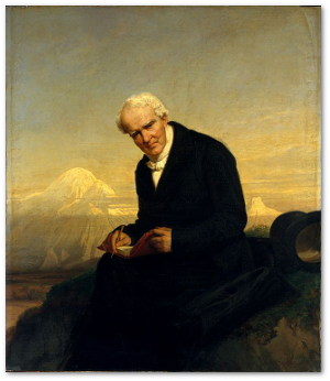 Julius Schrader painted him in 1859.  Humboldt believed he contracted rheumatism during his New World journey.  That's Chimborazo in the background.