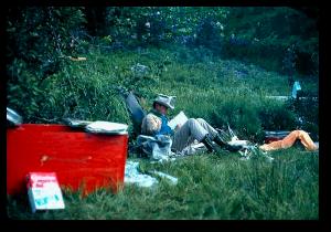 Luna Leopold doing field work in Idaho.  USGS