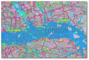 This worst-case London flooding shown on a UK Environment Agency map did not happen