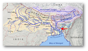 Note how most of that water passes near Dhaka to the east and west.