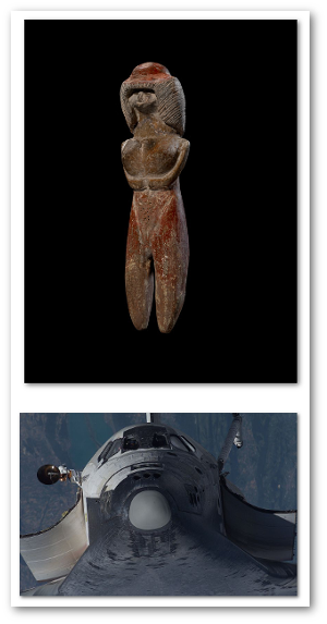 These two things have ceramics in common, even though they are separated in time by 5,500 years.  Valdivia figurine and Space Shuttle