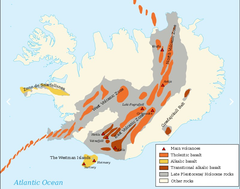 iceland volcanism general map